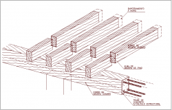 Wooden structure isometric view with beam dwg file