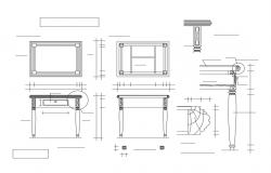 Wooden table elevation, section and plan details dwg file