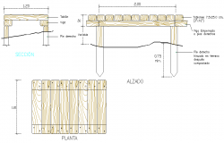 Wooden table plan, elevation and section detail dwg file