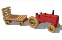 Wooden toy tractor 3d side elevation cad block details skp file