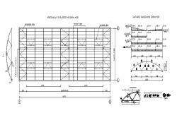 Work drawings details of roof construction and wooden trusses dwg file