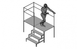 Working Platform 3d with human figure