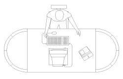 Working desk and people 2d view layout AutoCAD file