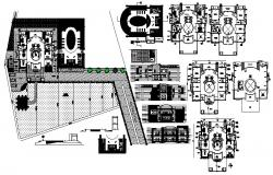 Working plan of the bungalow with different elevation and section in AutoCAD
