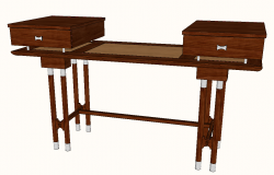 Writing desk detail elevation 3d model sketch-up file