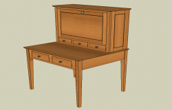 Writing table detail elevation CAD furniture 3d model sketch-up file