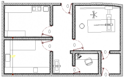X-Ray Room of Hospital Elevation dwg file