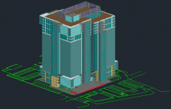 3D drawing of comercial tower building