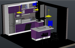 3D Modern modular Kitchen
