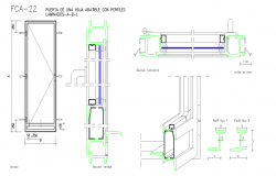 aluminium and glass door detail in autocad file