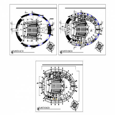 Amphy multiplex theater top view layout floor plan cad drawing details,