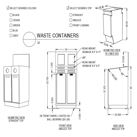 Angled top side and front view with straight top isometric view of waste container dwg file