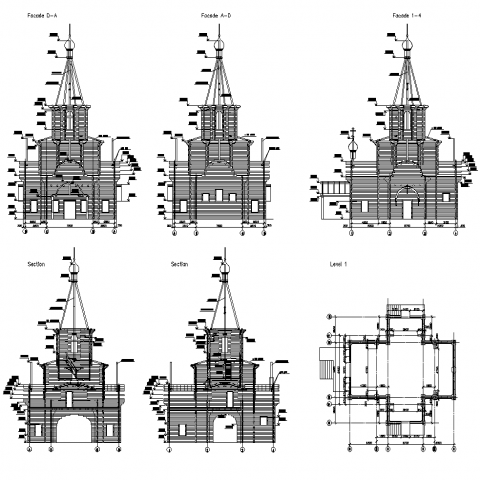 Architectural building church detail elevation and plan layout autocad file