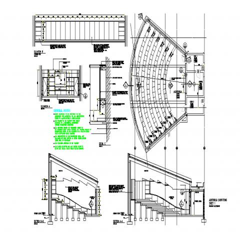 Auditorium Plan & Elevation detail in DWG file