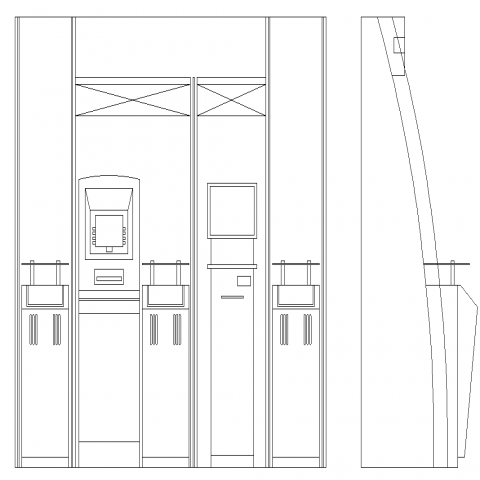 Bank furniture drawing in dwg AutoCAD file.