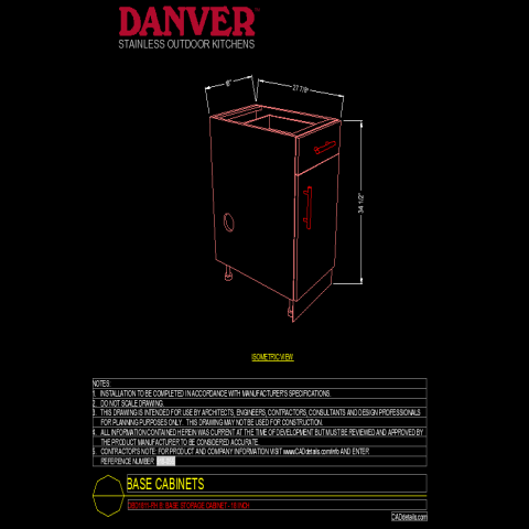 Base cabinet single door and single drawer autocad file
