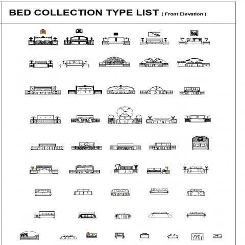 Bed collection detail elevation 2d view autocad file
