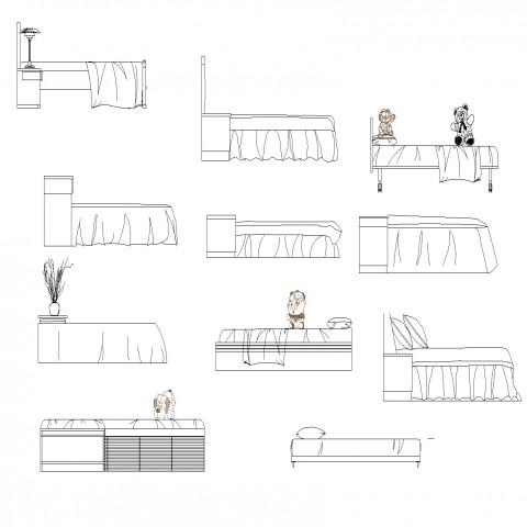 Bed furniture CAD blocks detail layout file