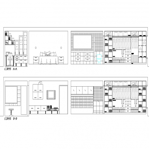 Bed room section plan autoad file