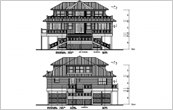 bungalow elevation plan view details dwg files