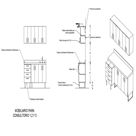 Cabinet detail 2d view CAD furniture block layout file in dwg format