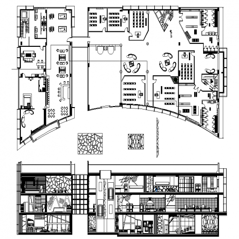 Cafeteria plan with a detail dwg file.