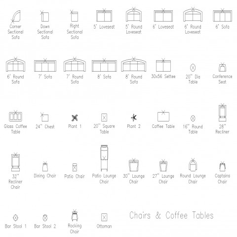 Chairs and coffee tables elevation autocad file