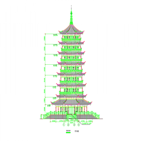 China great pagoda high rise building front elevation cad drawings details dwg file