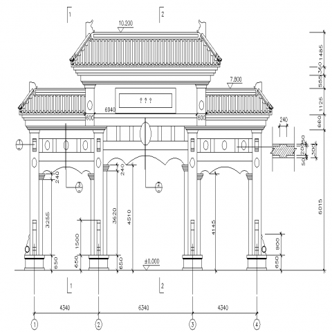 Chinese gateway cad details in dwg file.