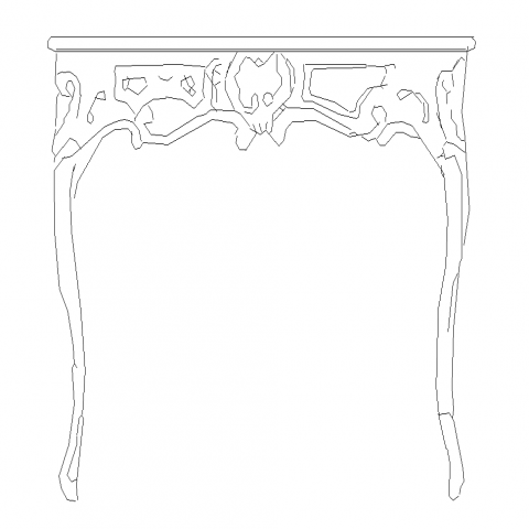 Classic table detail elevation 2d view layout dwg file