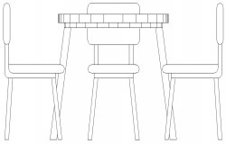 coffee table with chairs dwg file