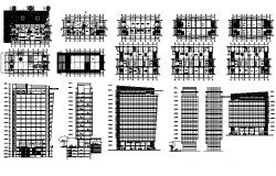 commercial building with elevations in dwg file