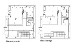 construction plan of villa in autocad file