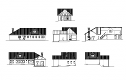 country house elevation dwg file