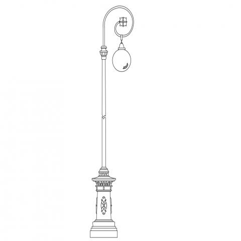 Creative street light pole side view elevation cad block design dwg file
