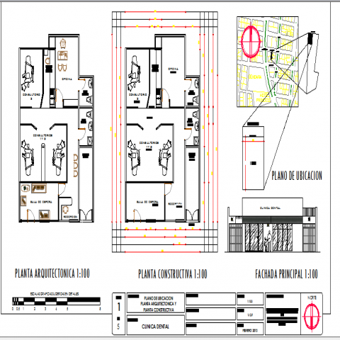 Dental clinic layout plan with auto-cad details dwg file