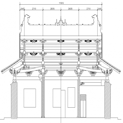 Detail drawing of traditional house in dwg file.