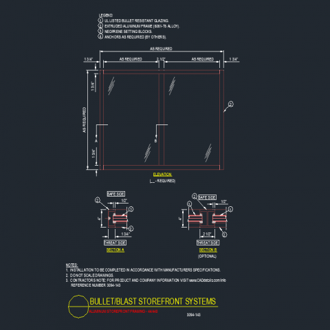 Detail of elevation and section Bullet store front system dwg file