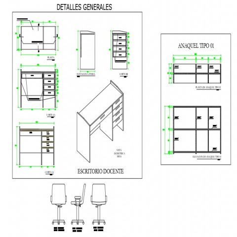 Detail office table and chair layout CAD furniture block autocad file