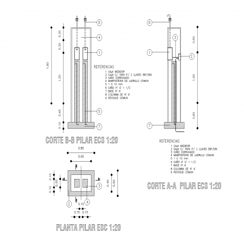 Detail pillar for meter so electricity plan and section autoacd file