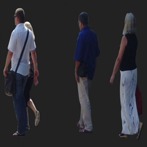 Different aged group walking people 3d model layout photo file