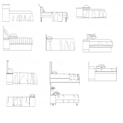 Double bed furniture detail elevation 2d view autocad file