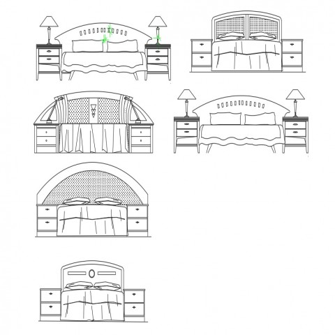 Dynamic double bed elevation blocks with side cabinet cad drawing details dwg file