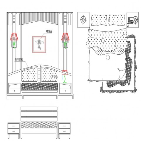 Dynamic hotel room furniture blocks cad drawing details dwg file