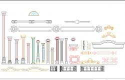 Roman Architecture Columns and detail in cad