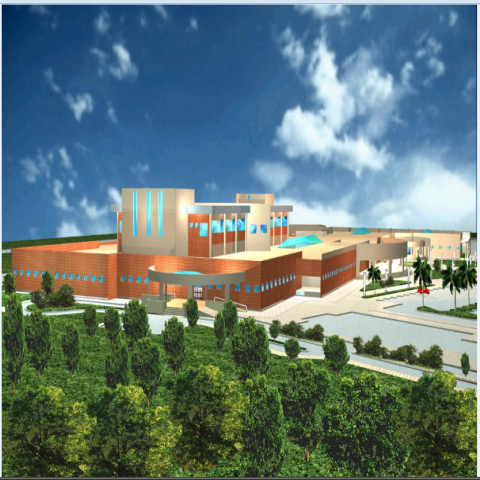 East side 3d elevation view of multi specialty hospital dwg file