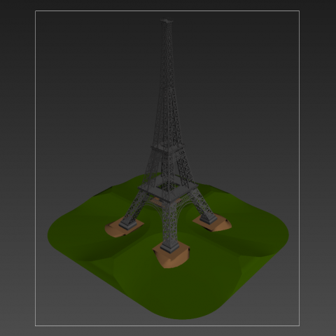 Eiffel tower detail elevation 3d model 3d max file