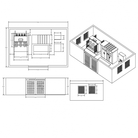 Electric sub station 3d view with plan,elevation and side view dwg file