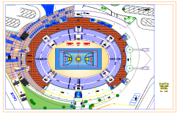 Terrace plan of Sport center design drawing