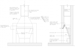 fire place locations detail and section cad drawing